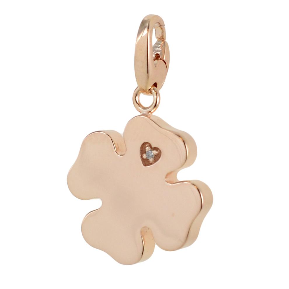 Ciondolo Quadrifoglio componibile Salvini in argento rosa collezione Charms of Love 20077087