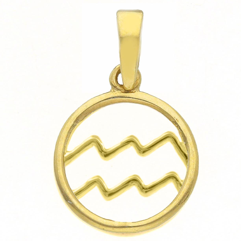Ciondolo segno zodiacale Acquario in oro giallo stilizzato