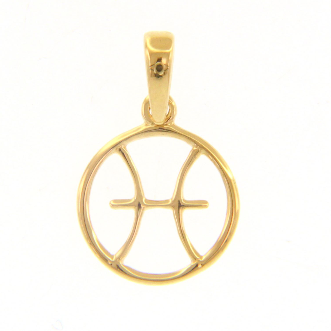 Ciondolo segno zodiacale Pesci in oro giallo stilizzato
