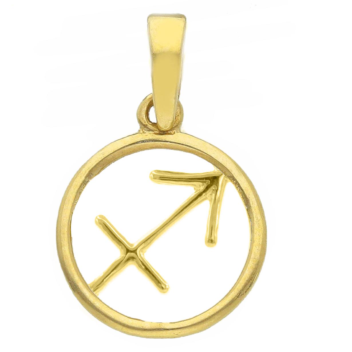 Ciondolo segno zodiacale Sagittario in oro giallo stilizzato