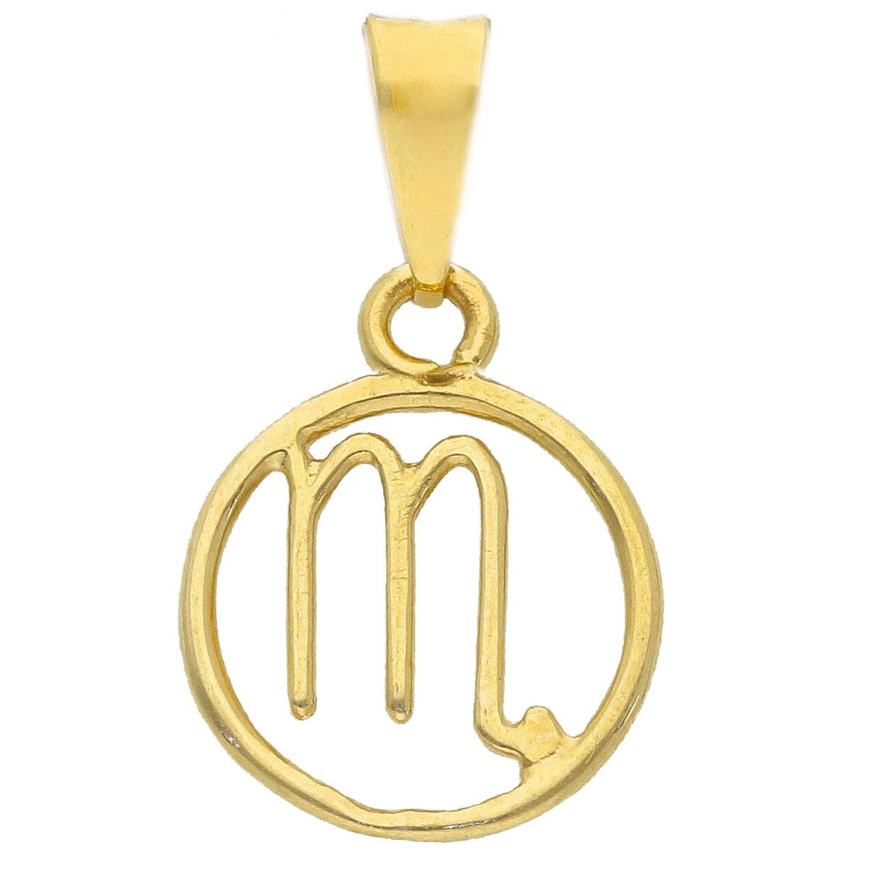 Ciondolo segno zodiacale Scorpione in oro giallo stilizzato