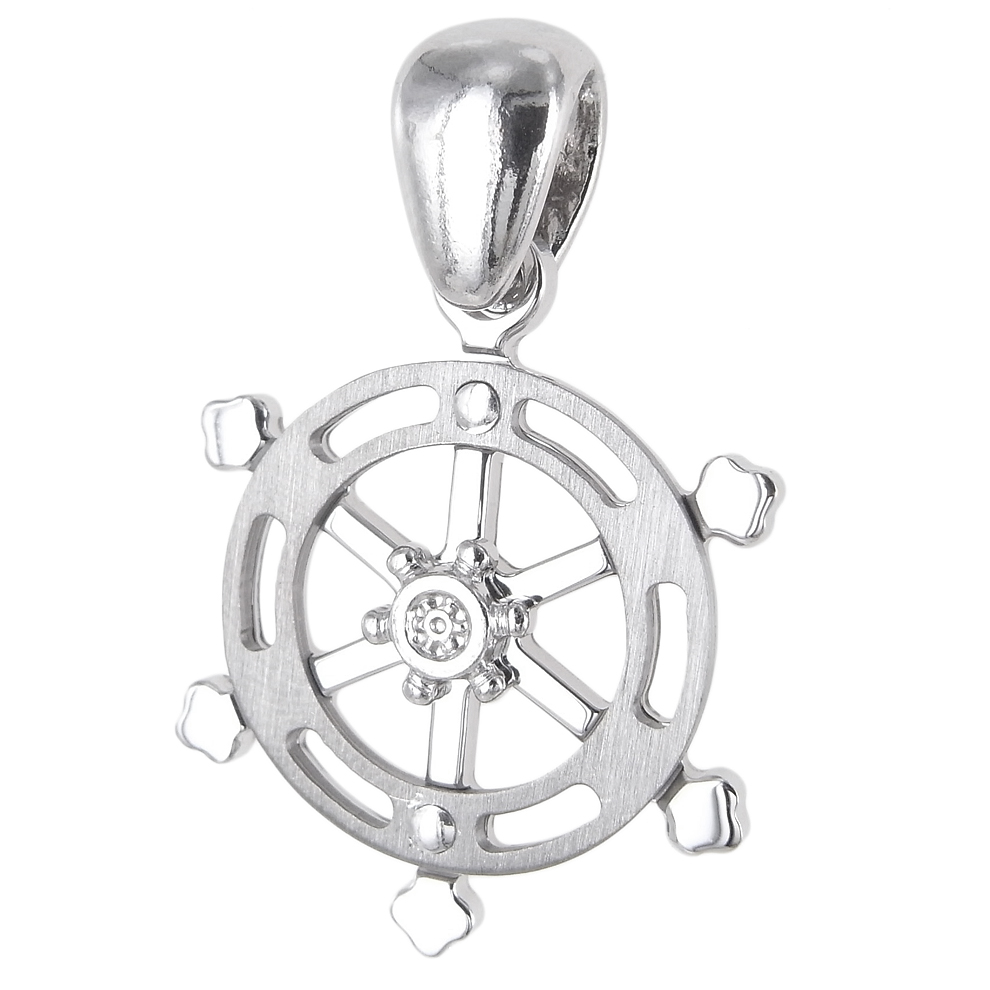 Ciondolo Timone da uomo in argento con zircone centrale