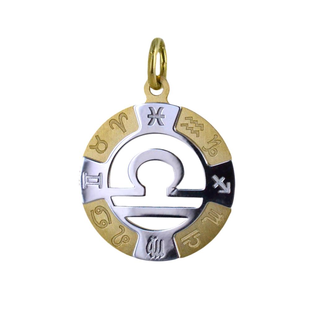 Ciondolo Zodiaco in oro giallo e bianco - SEGNO BILANCIA