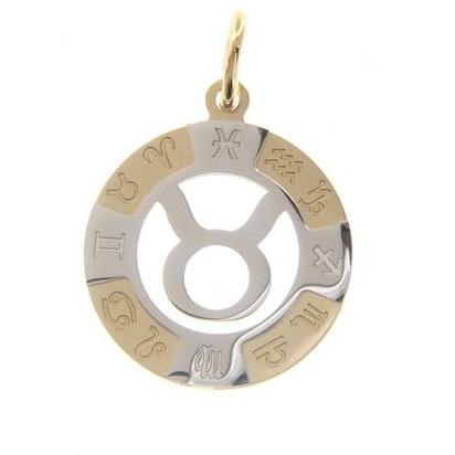 Ciondolo Zodiaco in oro giallo e bianco - SEGNO TORO