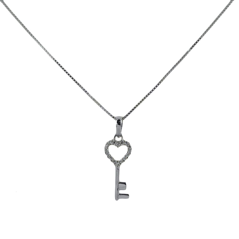 Collana ciondolo a forma di chiave con cuore in oro e argento con zirconi