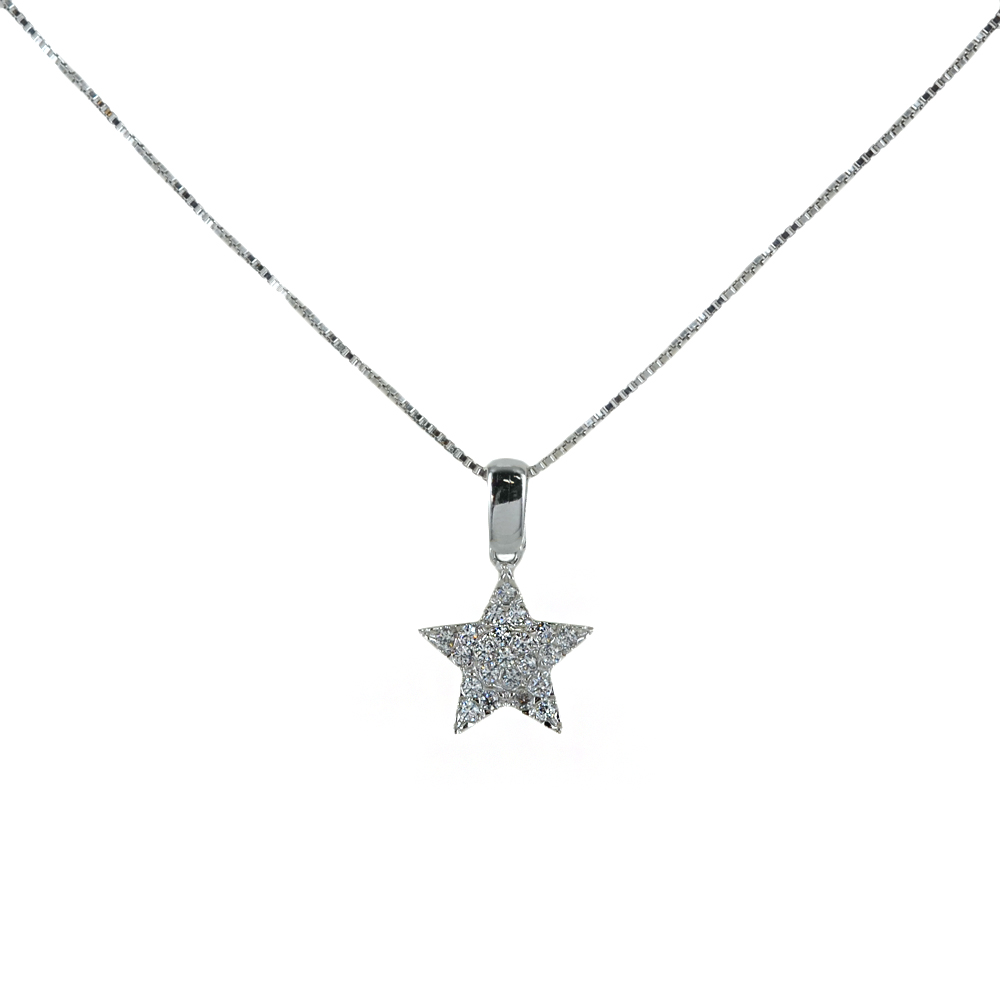 Collana ciondolo a forma di Stella in oro e argento con zirconi