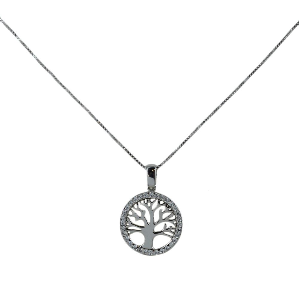 Collana ciondolo albero della vita con zirconi in oro e argento