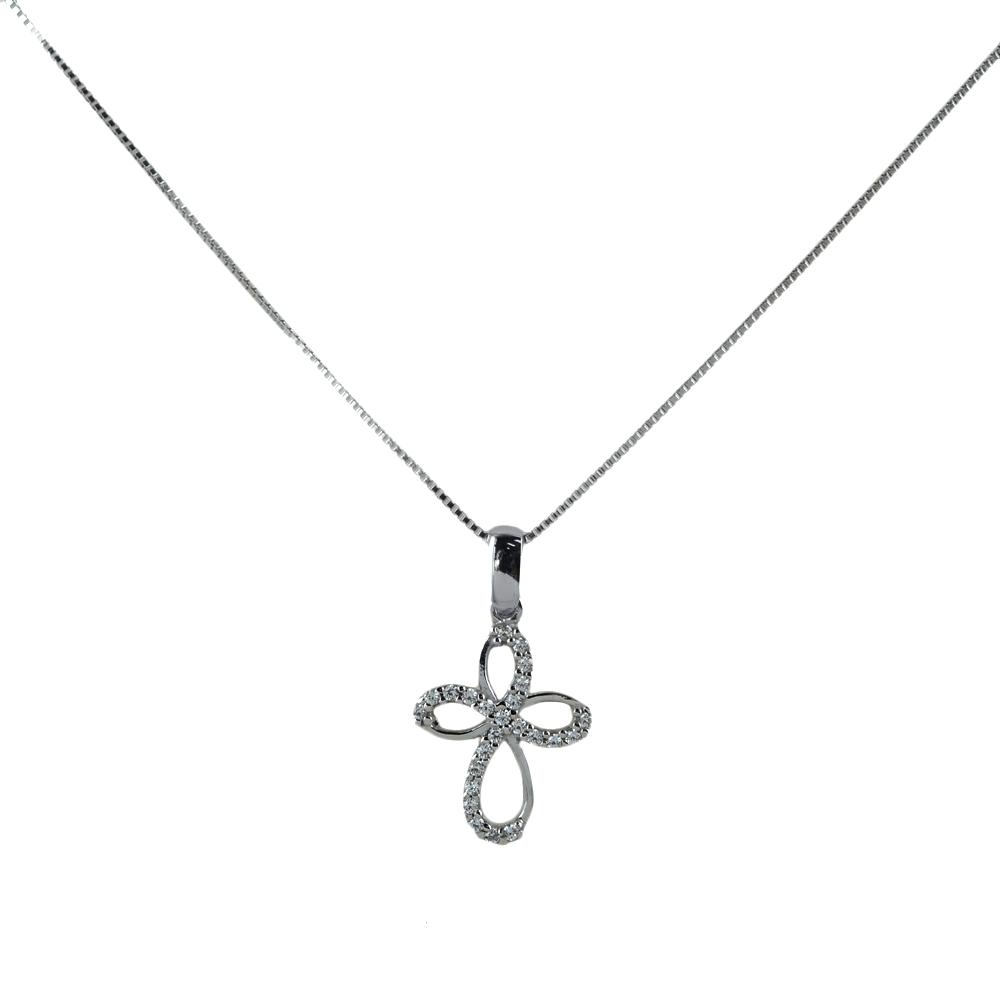 Collana ciondolo Croce con zirconi in oro e argento
