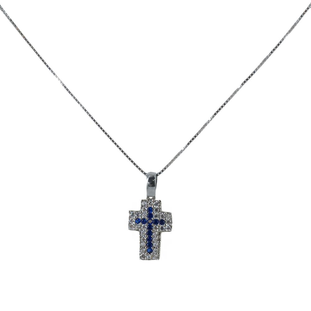 Collana ciondolo Croce in oro e argento con zirconi bianchi e blu