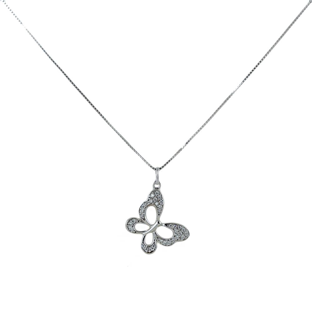 Collana ciondolo Farfalla con zirconi in oro e argento