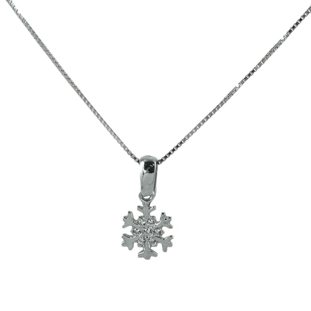 Collana ciondolo Fiocco di Neve in oro e argento con zirconi