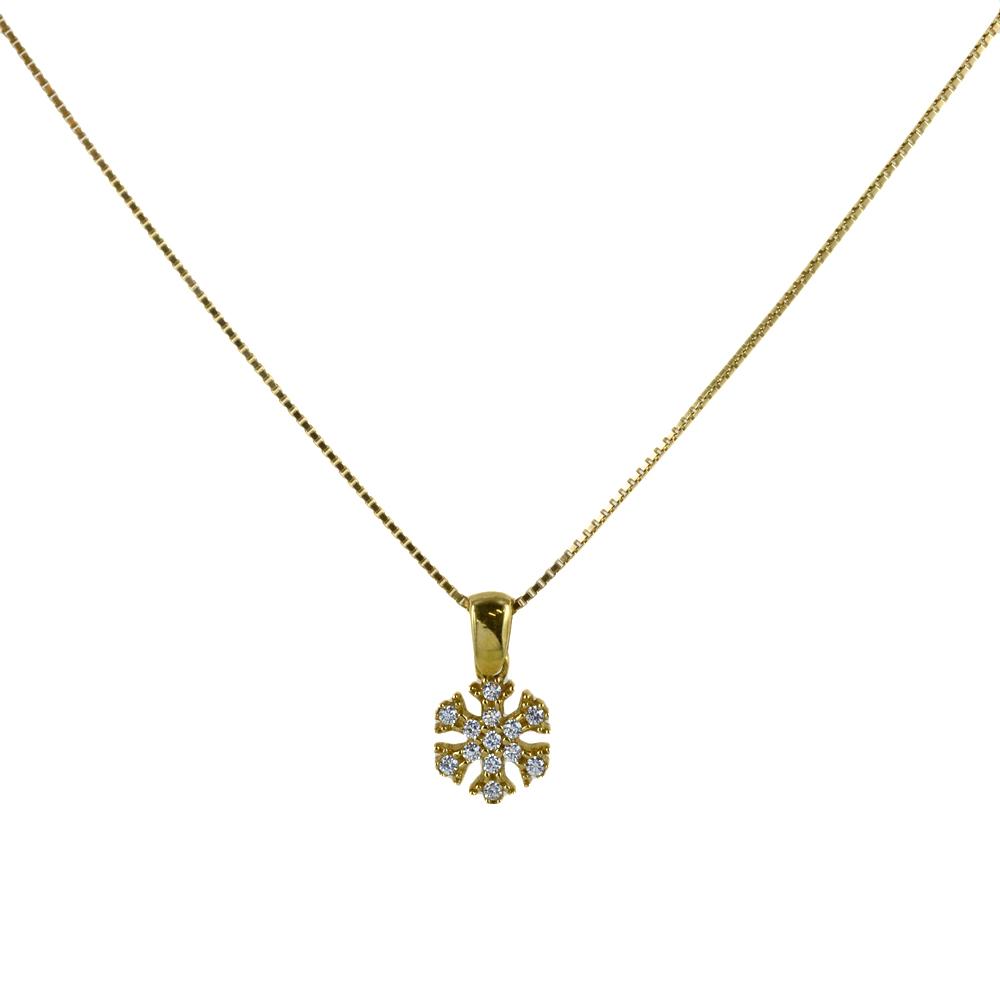 Collana ciondolo Fiocco di Neve in oro giallo e argento con zirconi