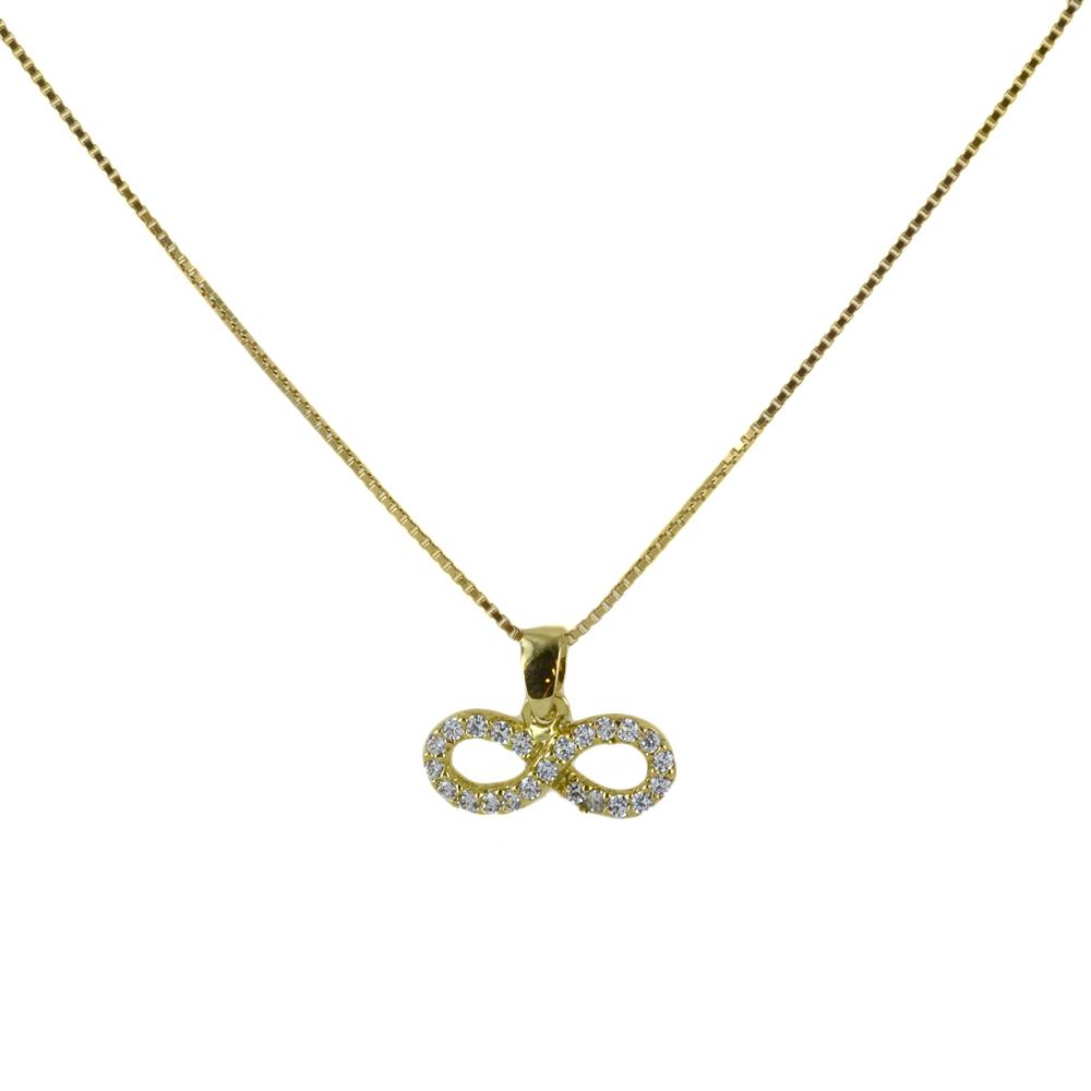 Collana ciondolo Infinito in oro giallo e argento con zirconi