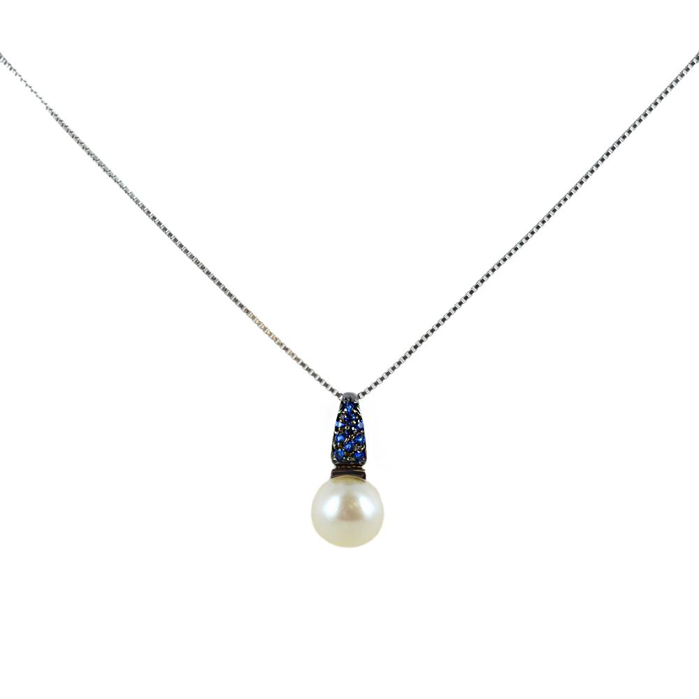 Collana ciondolo Perla Freshwater con zirconi Blu in oro e argento