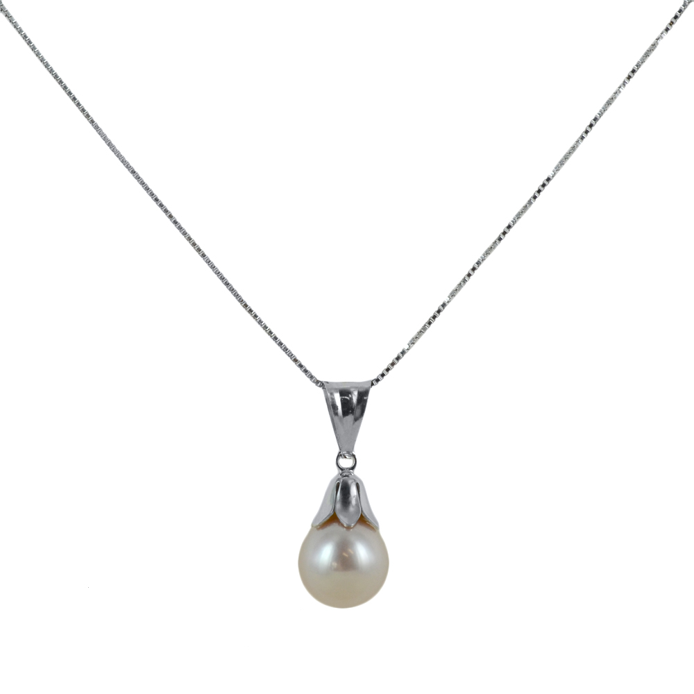 Collana ciondolo Perla Freshwater in oro e argento