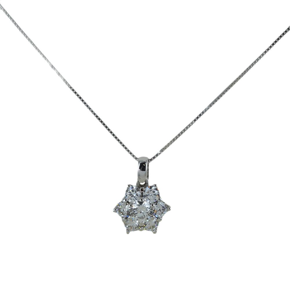 Collana ciondolo Rosetta con zirconi in oro e argento