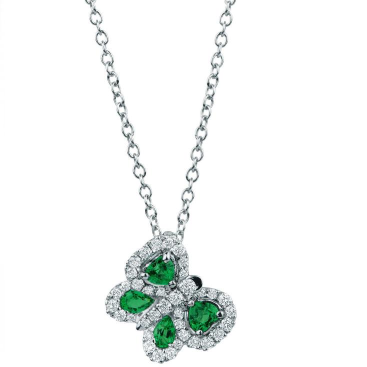 Collana cn ciondolo farfalla con smeraldi e diamanti Gioielli Valenza