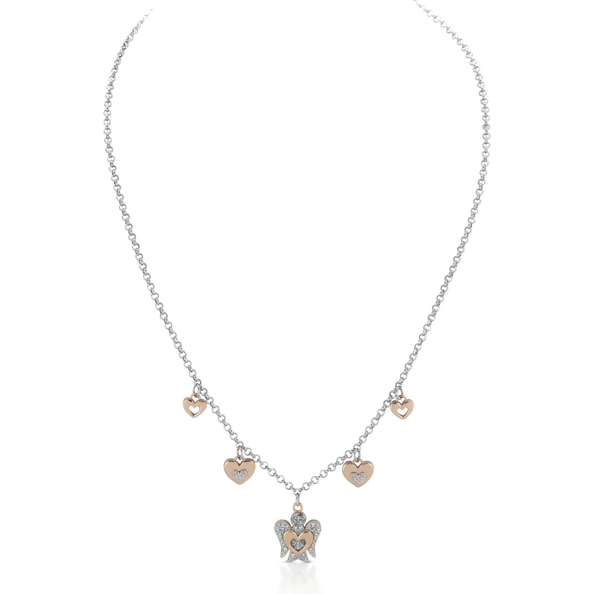 Collana con ciondoli Cuore e Angelo in argento con Zirconi GIA331