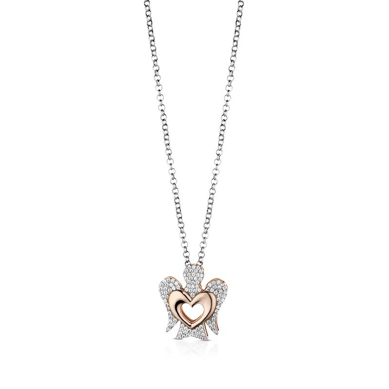Collana con ciondolo Angelo in argento con Cuore e Zirconi GIA319