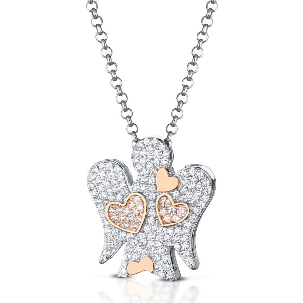 Collana con ciondolo Angelo in argento cuori e Zirconi GIA357