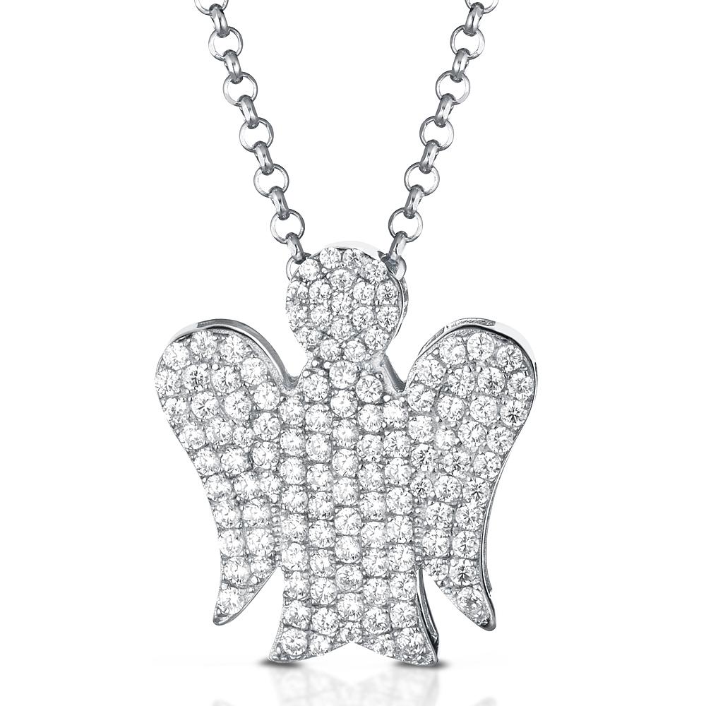 Collana con ciondolo Angelo in argento e Zirconi GIA355