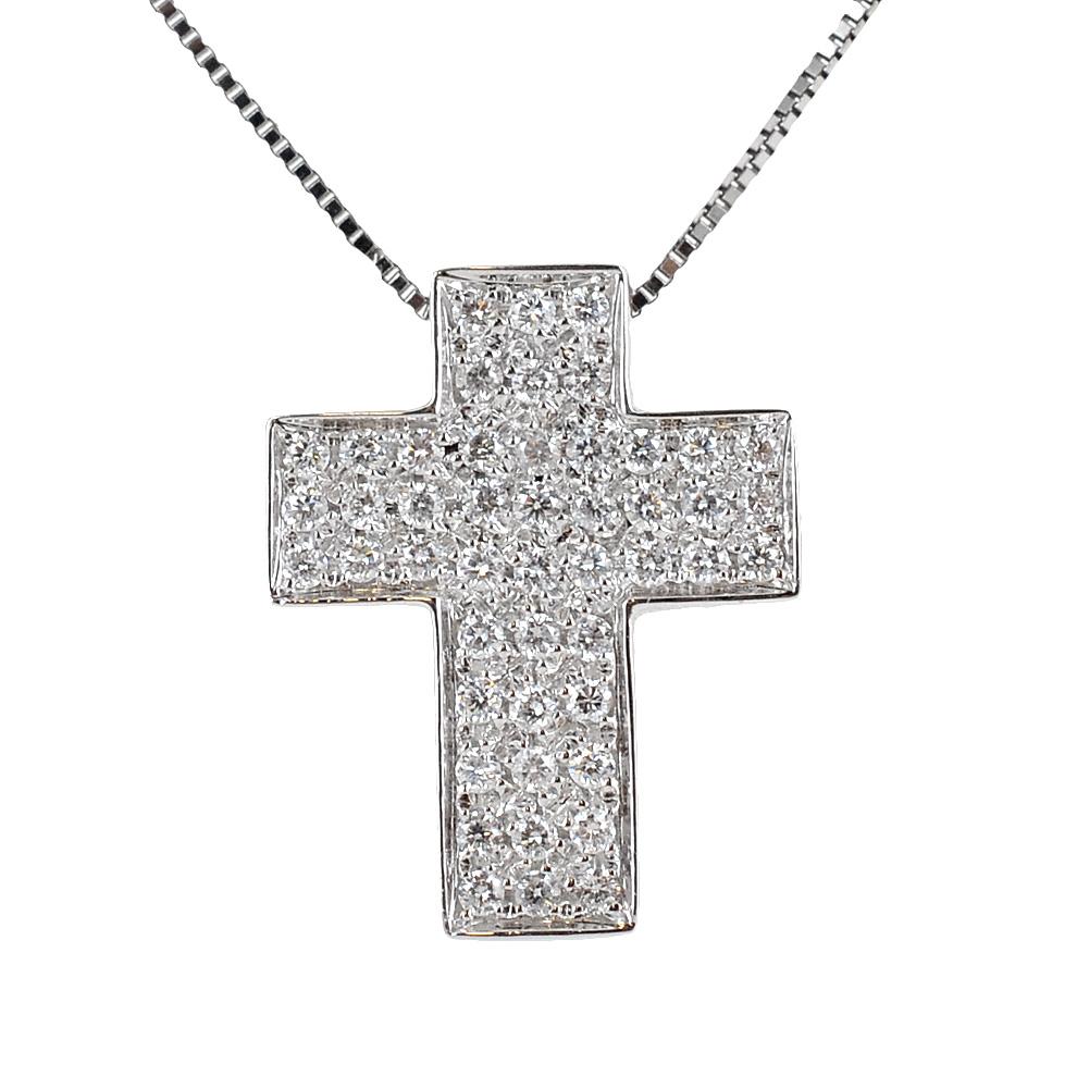 Collana con ciondolo Croce a pave di Diamanti ct. 0.25