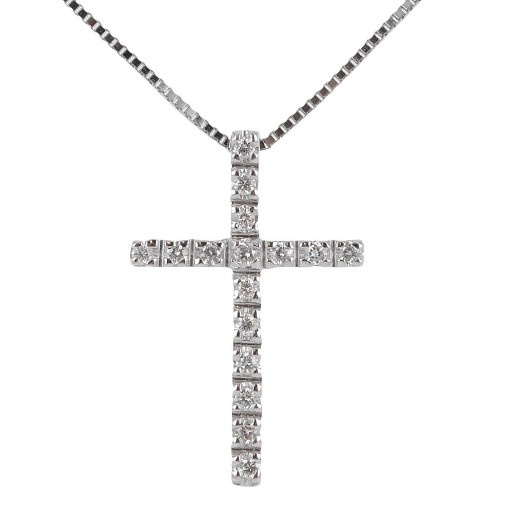 Collana con ciondolo Croce con Diamanti ct. 0.11