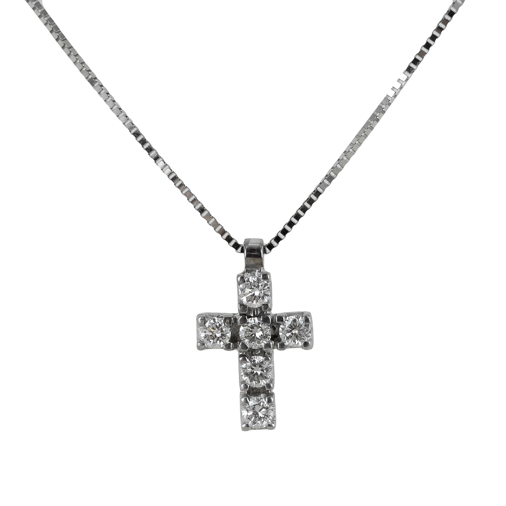 Collana con ciondolo Croce media con Diamanti ct. 0.21