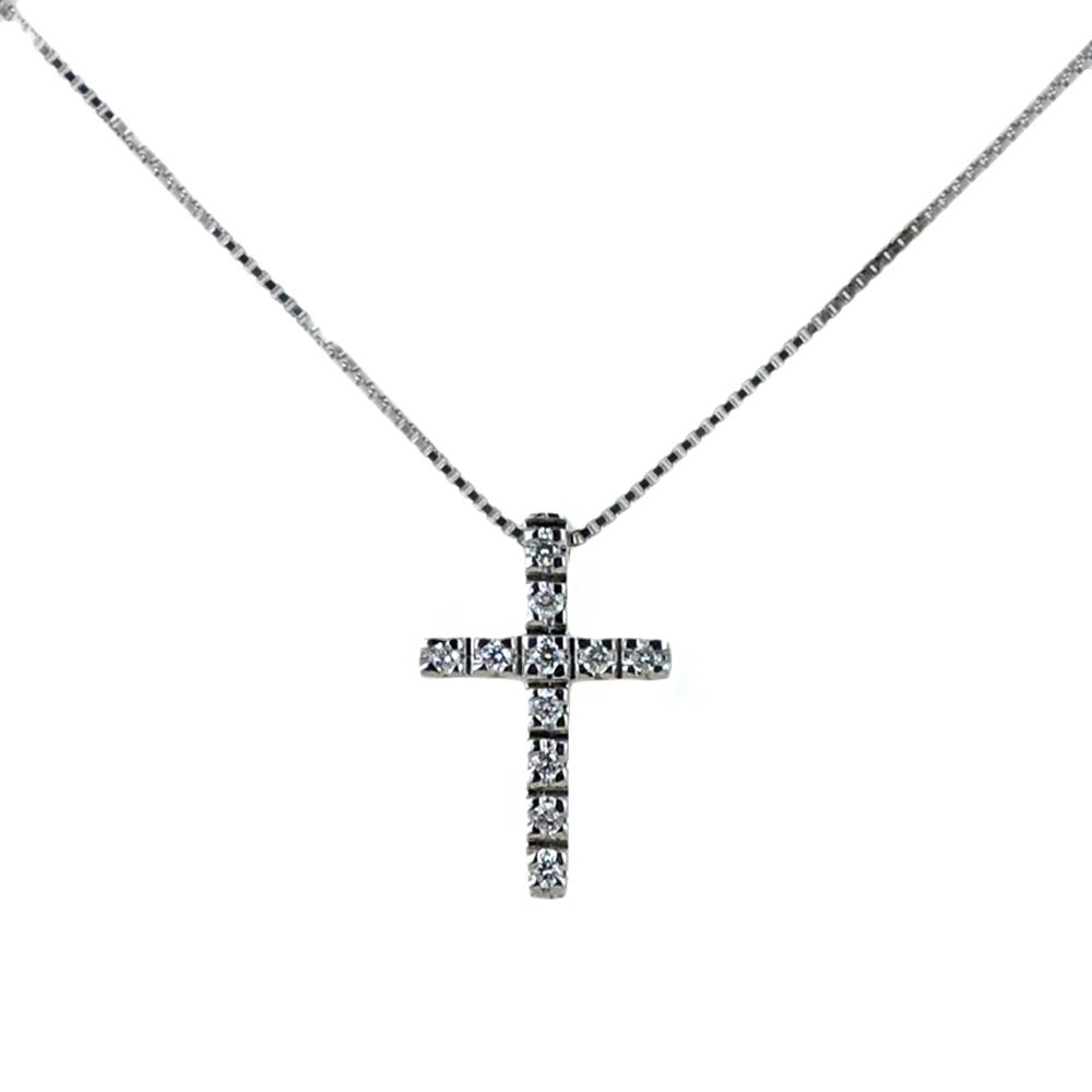 Collana con ciondolo Croce piccola con Diamanti ct. 0.06