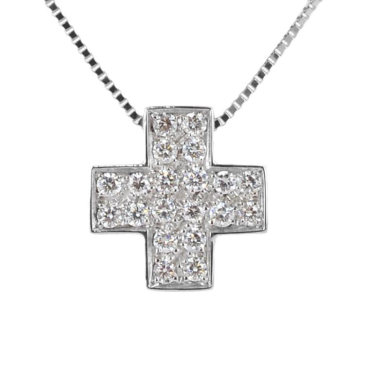 Collana con ciondolo Croce quadrata a pave di Diamanti ct. 0.17
