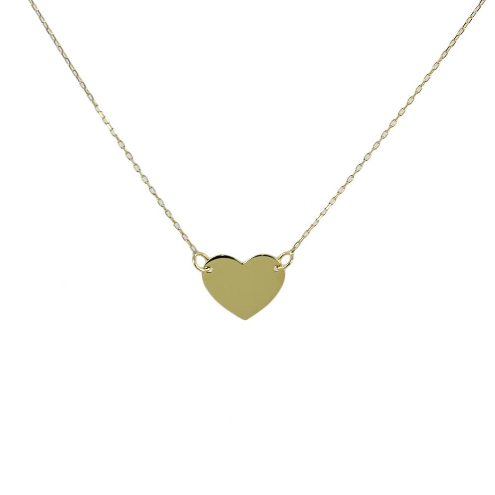 b5fcf91c79 Collana con ciondolo cuore a lastra in oro giallo - cuore piccolo ...