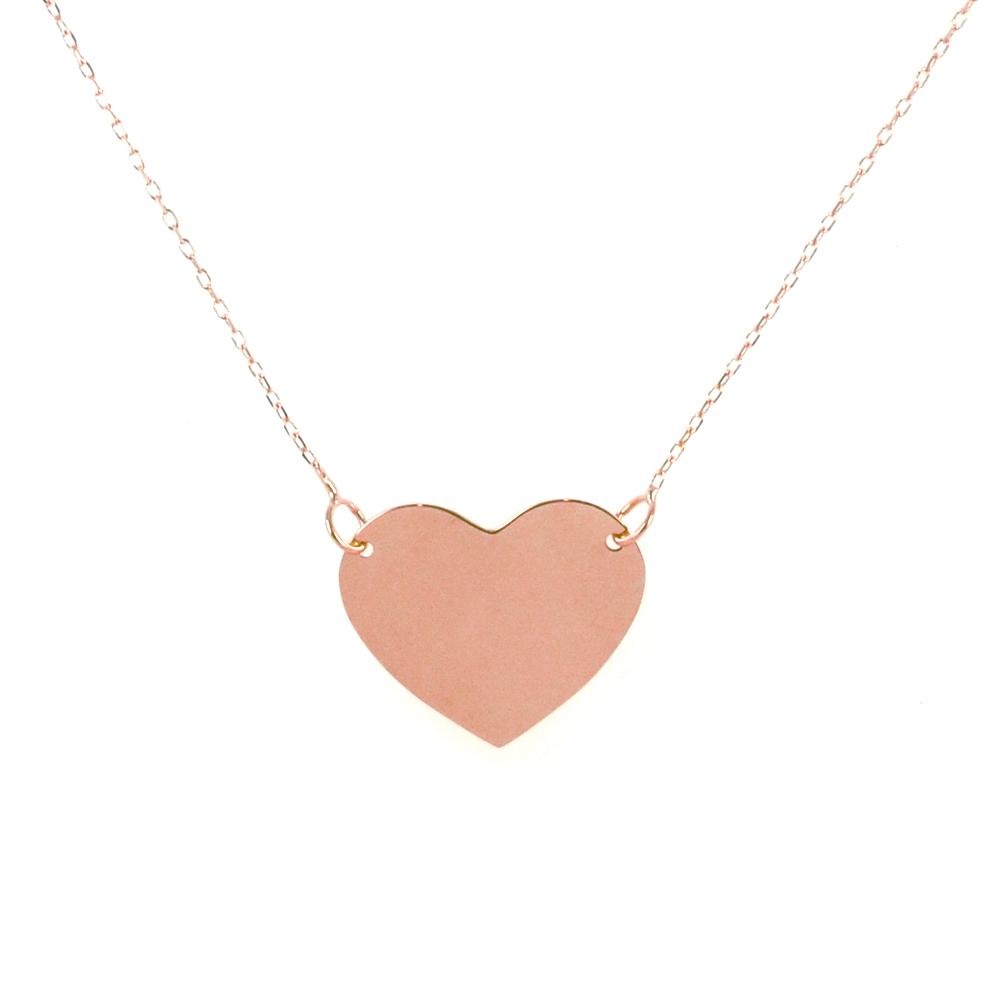 c551f48399 Collana con ciondolo cuore a lastra in oro rosa cuore grande ...