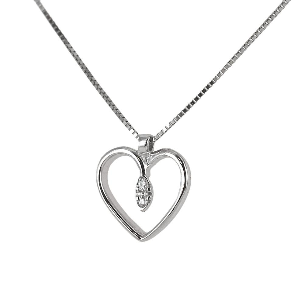 Collana con ciondolo cuore con punta di diamanti - pendente a forma di cuoricino