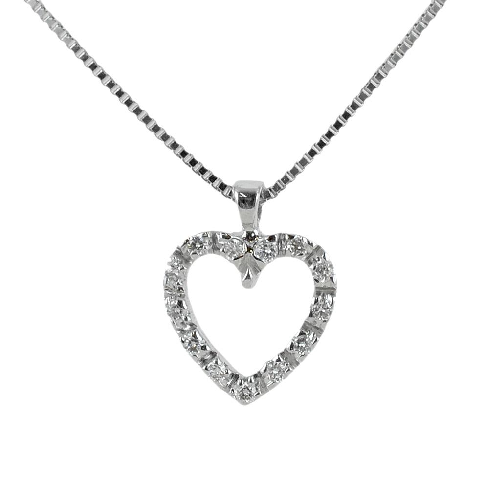 Collana con ciondolo cuore di diamanti - pendente a forma di cuoricino