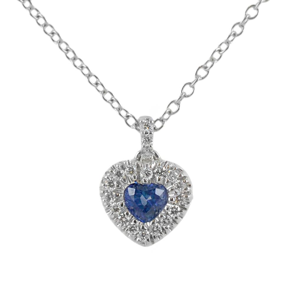 Collana con ciondolo Cuore Zaffiro 0.29 con contorno di diamanti