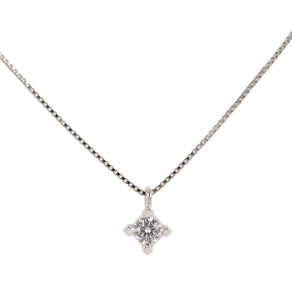 Collana con punto luce medio diamante da carati 0.13 G VS