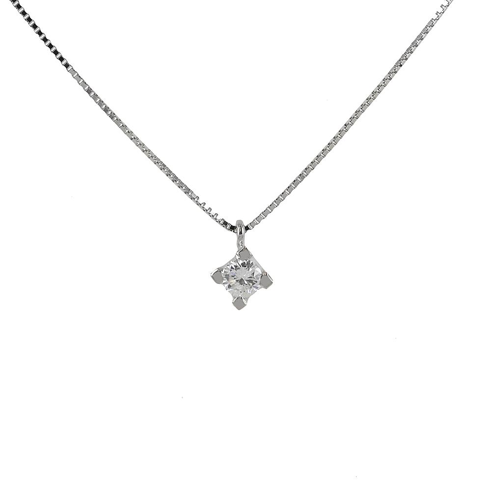 Collana con ciondolo Diamante punto luce carati 0.18 G