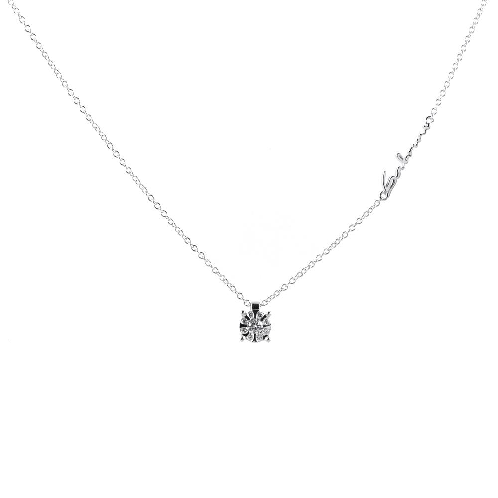 Collana con ciondolo effetto punto luce Salvini con diamanti ct. 0.12 G H