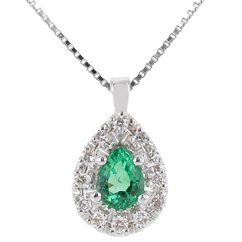 Collana con ciondolo Goccia di Smeraldo e contorno di Diamanti