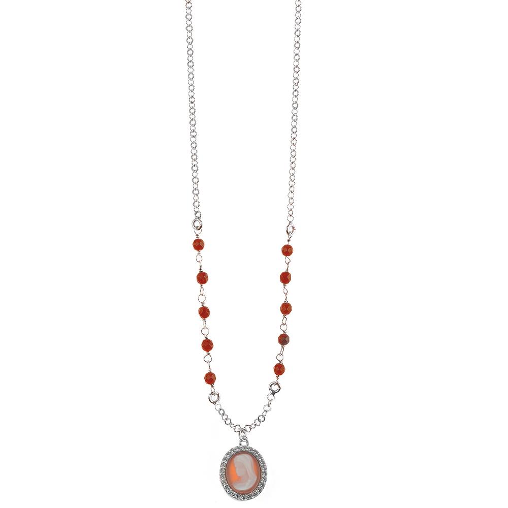 Collana con Ciondolo Madonna in Cammeo e argento Agios