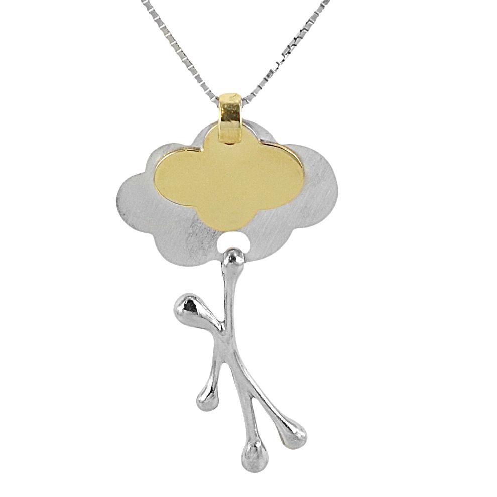 Collana con ciondolo Pensieri Felici nuvola in argento e oro giallo GS 1039