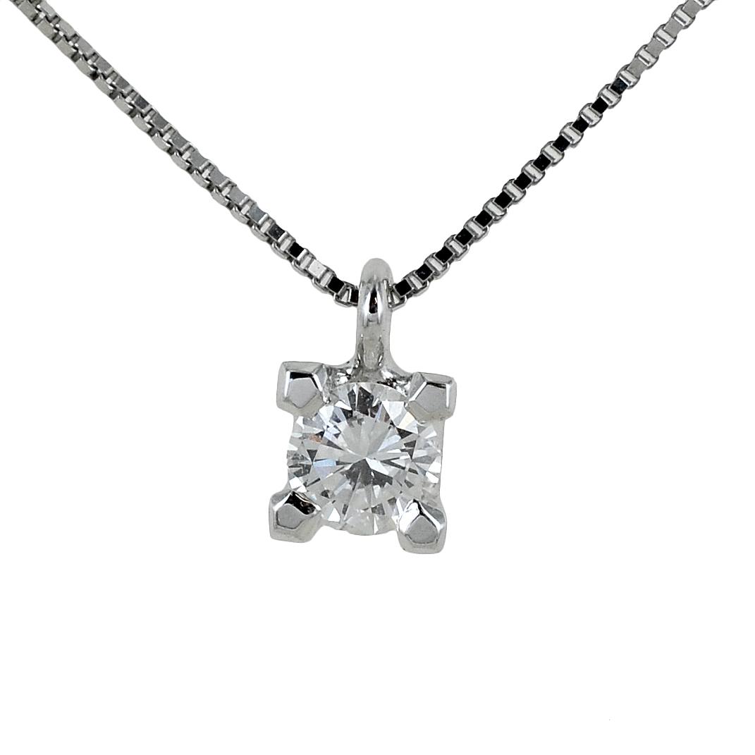 Collana con ciondolo punto luce grande Diamante 0.28 ct