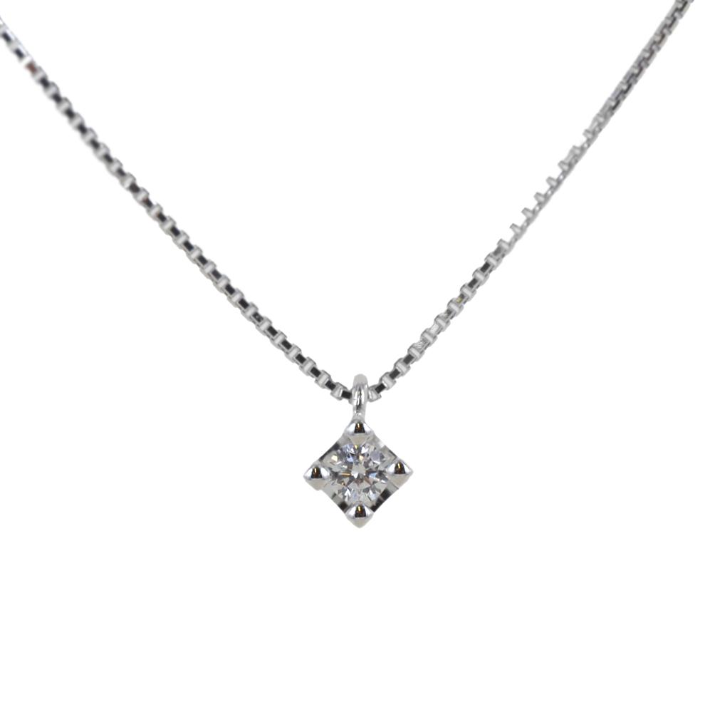 Collana con ciondolo Punto Luce in oro bianco e diamante 0.05 G VS