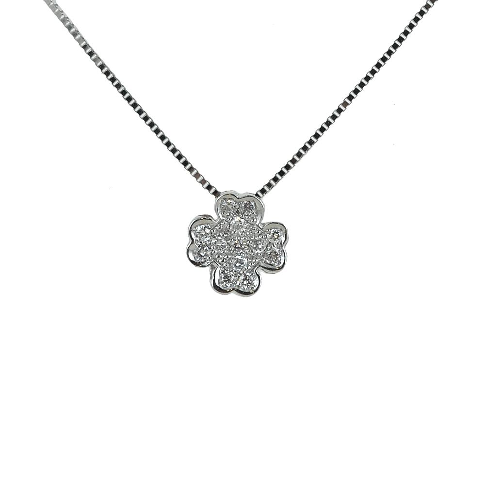 Collana con ciondolo Quadrifoglio con Diamanti collezione Grace