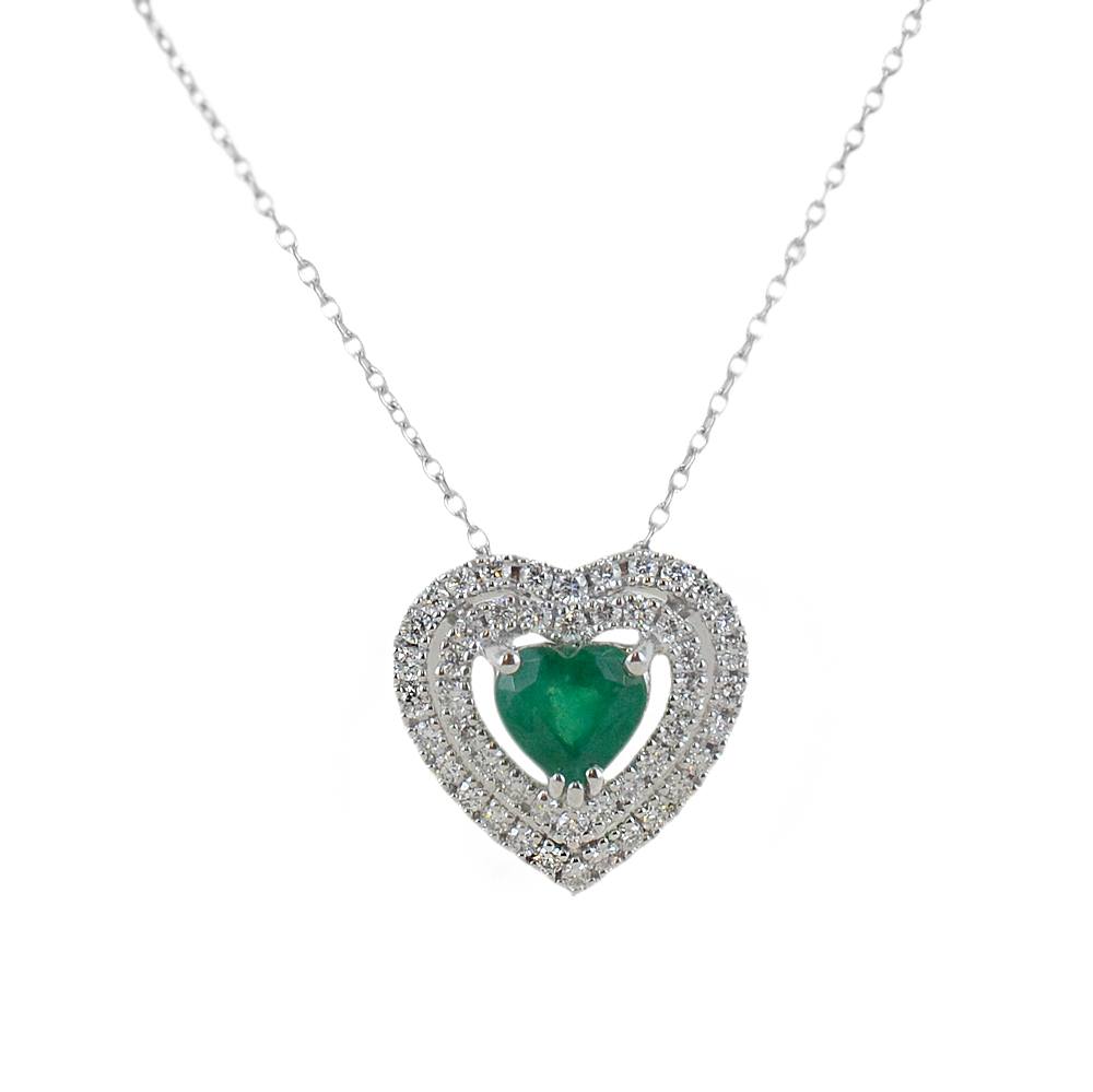 Collana con ciondolo Smeraldo a forma di cuore e doppio contorno di diamanti Gioielli Valenza