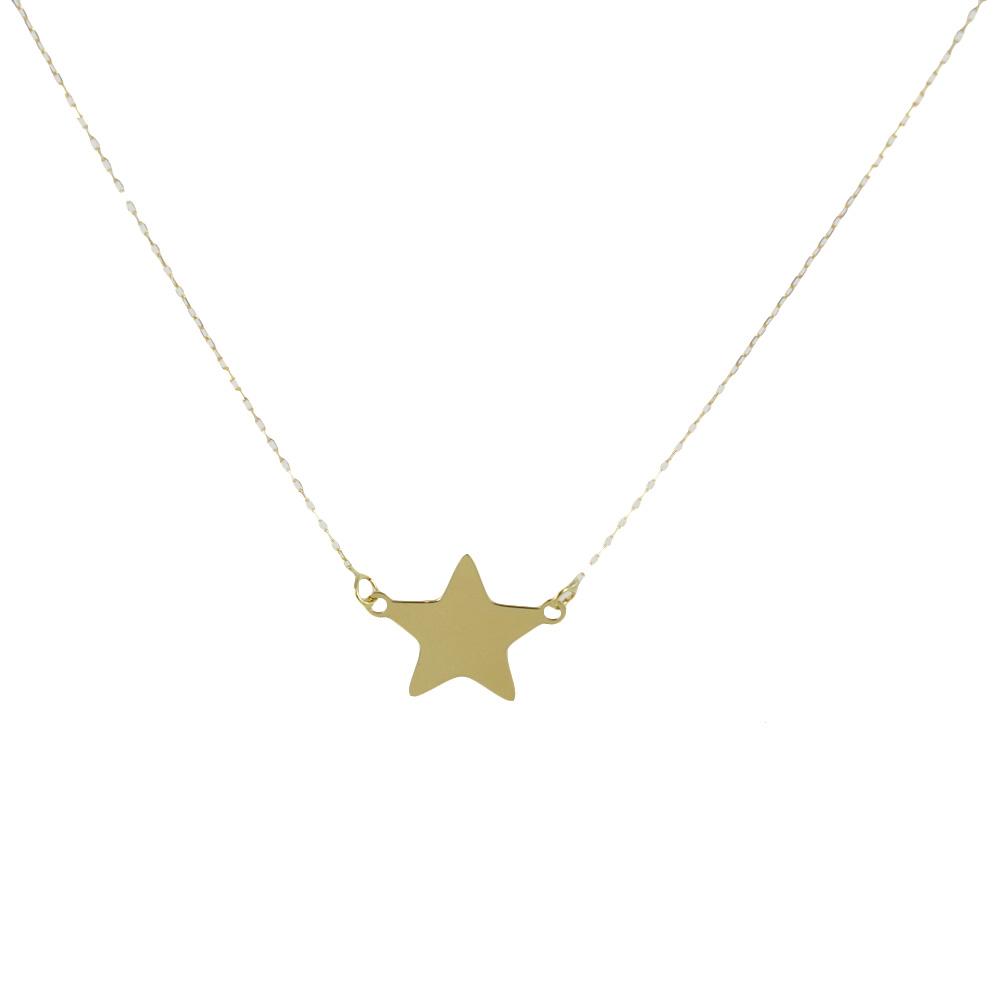 Collana con ciondolo stella a lastra in oro giallo - stella media