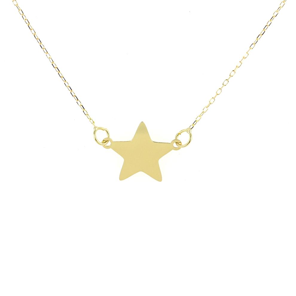 Collana con ciondolo stella a lastra in oro giallo - stella piccola