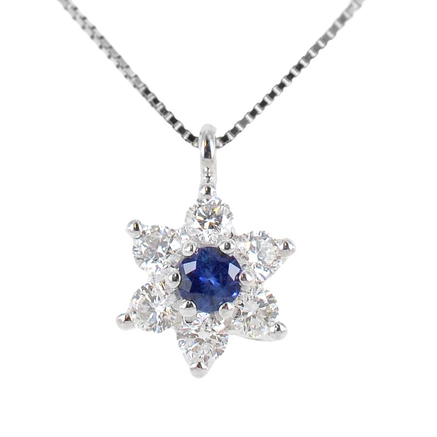 Collana con ciondolo Stella con Zaffiro e Diamanti