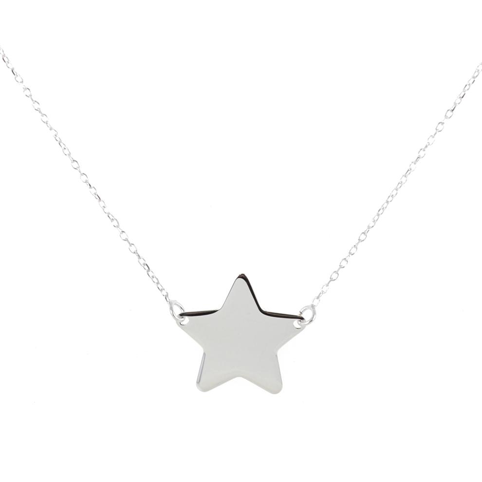 Collana con ciondolo stella a lastra in oro bianco - stella media