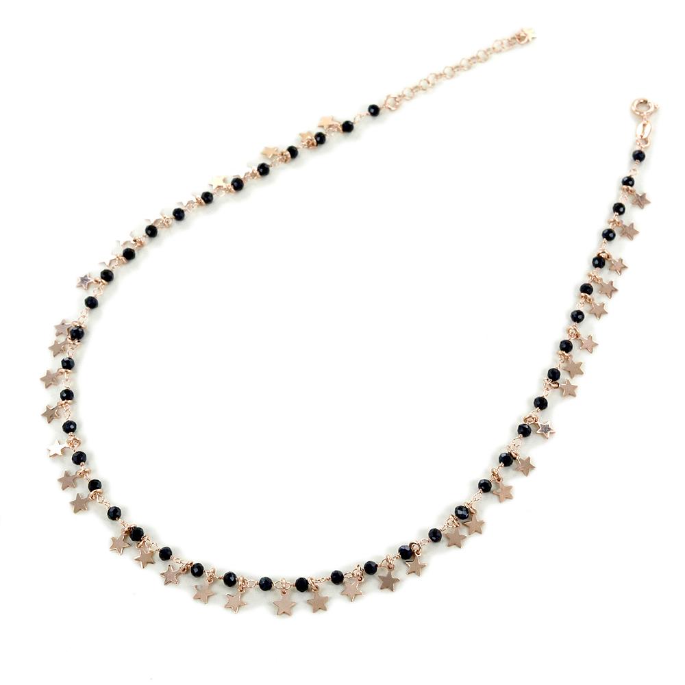 Collana con cristalli neri e ciondolo stella argento rosa
